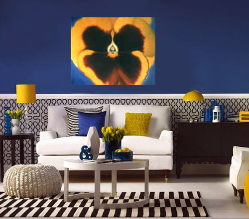 Yellow Pansy by Anni Adkins in Room Setting