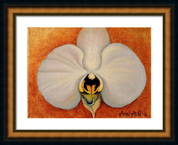 white orchid on gold leaf framed
