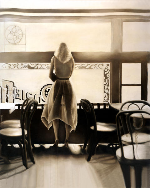 Kelly in the Window by Anni Adkins Photorealism Painting